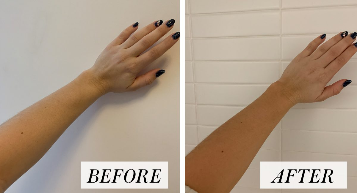 before and after Vita Liberata self tanner